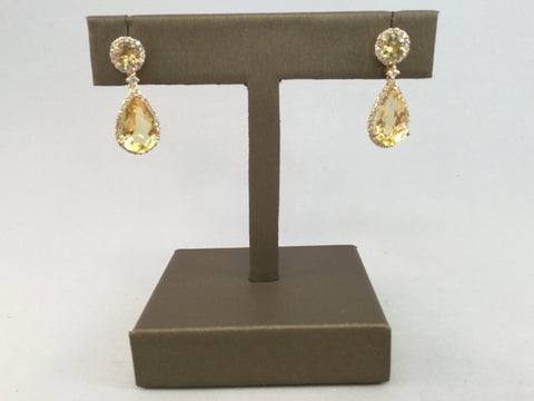 14KT CITRINE AND DIAMOND EARRINGS