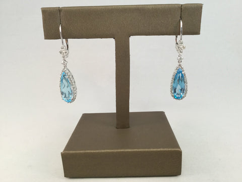 14KT BLUE TOPAZ AND DIAMOND EARRINGS