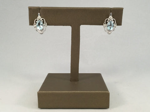 14KT AQUAMARINE AND DIAMOND EARRINGS