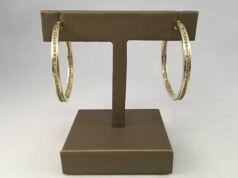 14KT DIAMOND HOOP EARRINGS
