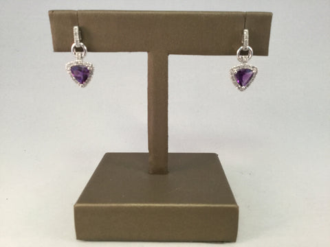 14KT AMETHYST AND DIAMOND EARRINGS