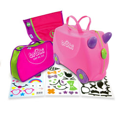 Trunki Bundle: Trixie Trunki Suitcase + Tidy Bag + Saddlebag + Stickers