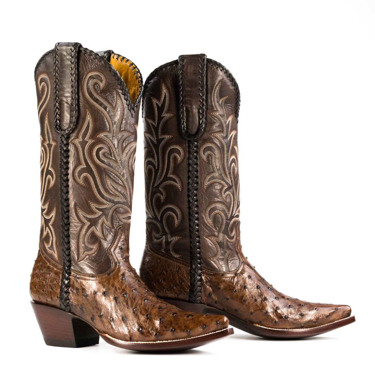 ab4b7266335 Full Quill Ostrich Boot in Brown