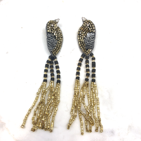 Image of Black & Gold Bird Earring