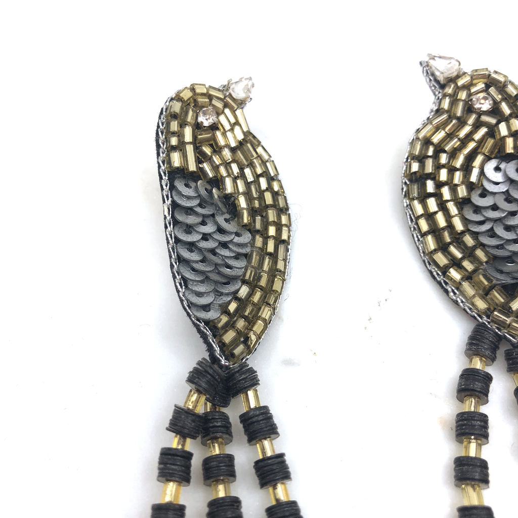 Black & Gold Bird Earring