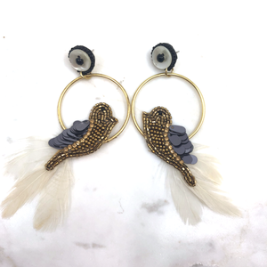 Bird on Hoop Earring