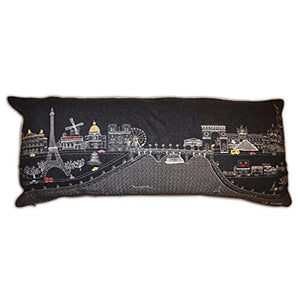 Paris Embroidered Skyline Cushion Night Time-Queen Size - Relish New Orleans