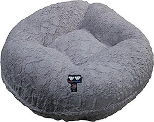 "Bessie and Barnie MEDIUM 36"" Serenity Grey Bagel Dog Bed"