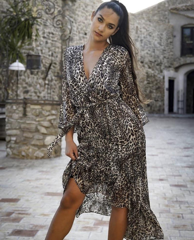 Image of Leopard Woven Dress