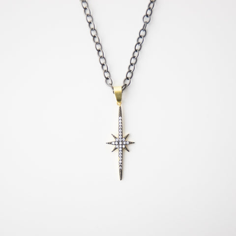 Black & Gold North Star Necklace
