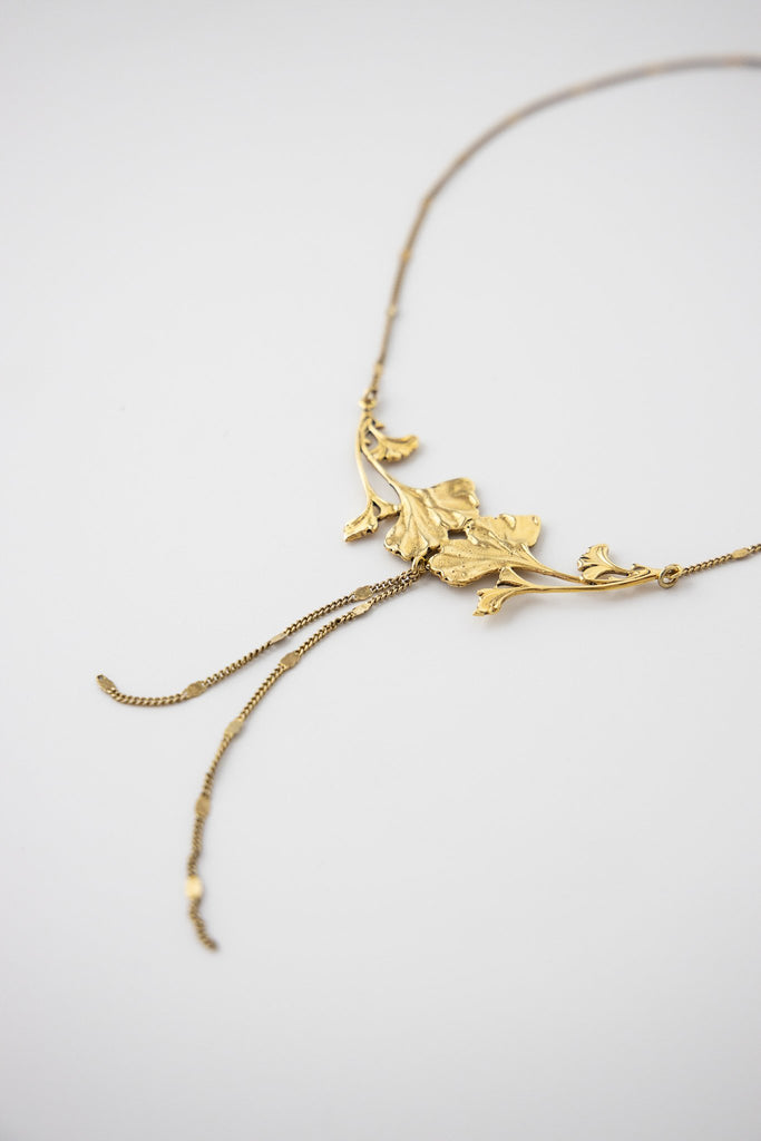 Double Gingko Necklace