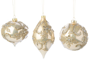 Glass gold beaded ornament