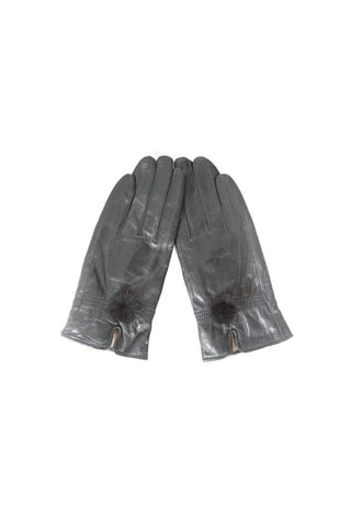 Leather Gloves with Mink Bobble