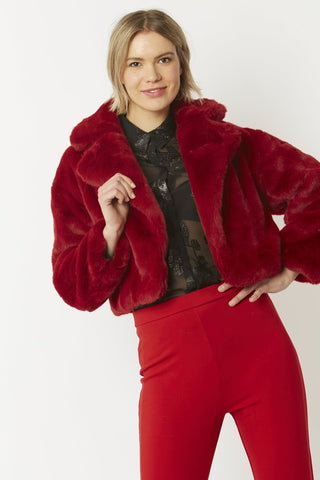 Image of Faux Fur Cropped Jacket