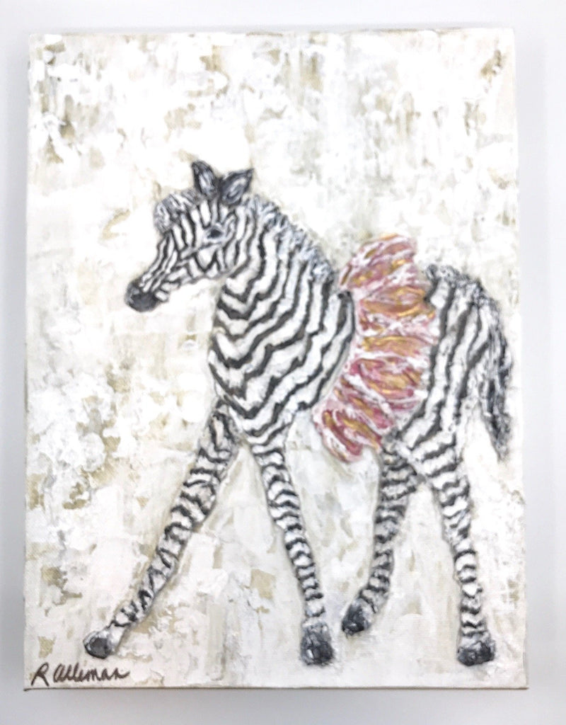 Zebra Pink  9x12 Hand Painted Artwork