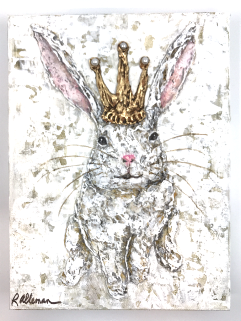 Rabbit with Crown  9x12 Hand Painted Artwork
