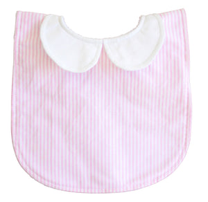 Peter Pan Collar Bib - Pink Stripe