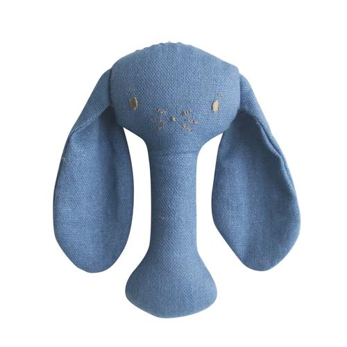 Bobby Bunny Stick Rattle - chambray linen