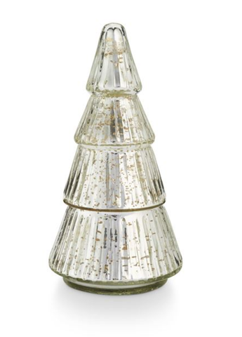 Balsam and Cedar Etched Mercury Glass Tree Candle