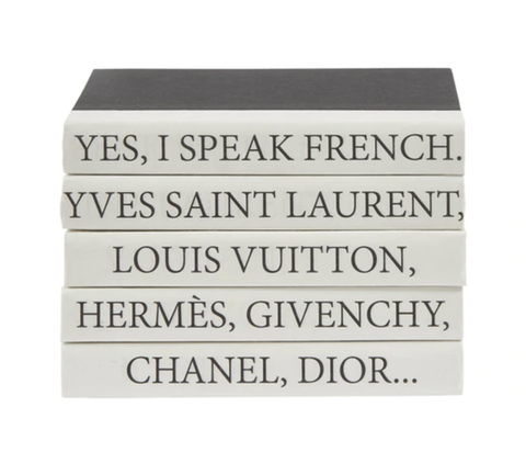 I Speak French Set of 5 Decorative Books