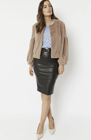 Faux Fur Cropped Jacket with Puff Sleeves