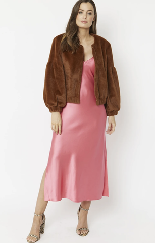 Image of Faux Fur Cropped Jacket with Puff Sleeves