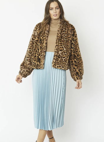 Image of Leopard Faux Fur Jacket