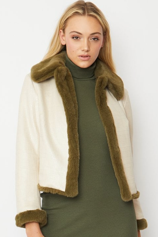 Image of Faux Suede Jacket with Faux Fur Trim khaki