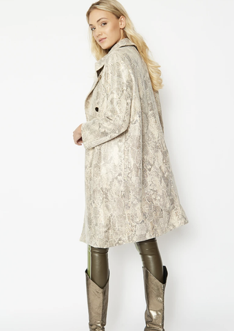 Image of Faux Suede Snake Print Coat