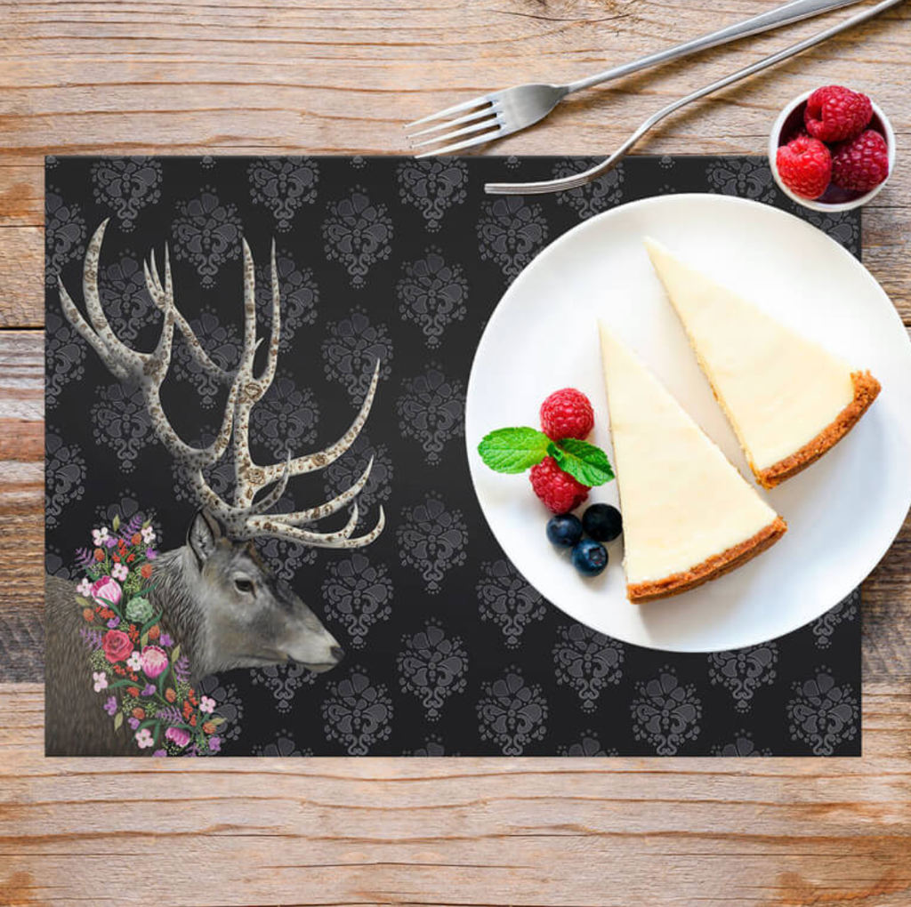 Deer With Floral Wreath Vinyl Placemat