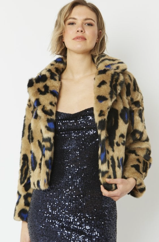 Image of Faux Fur Animal Print Cropped Jacket BLUE