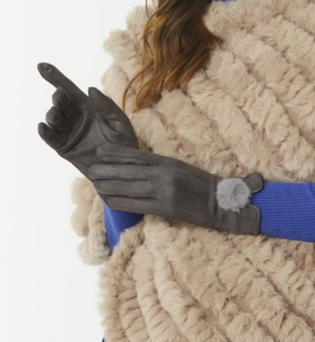 Faux Suede & Faux Fur Pom Gloves