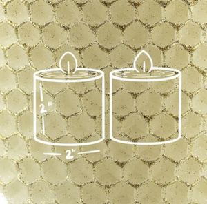 "2"" Votives Pair Ivory Beeswax Candles with Gold Finish"
