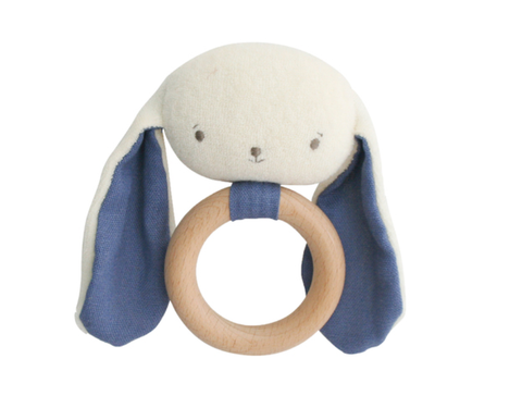 Baby Bunny Teether Rattle Chambray