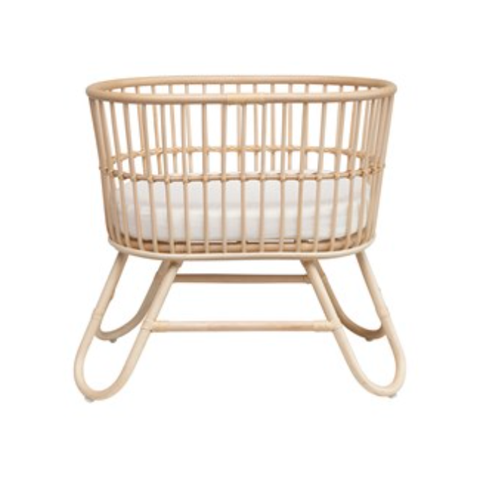 Hand-Woven Rattan Doll Bassinet w/ Cushion