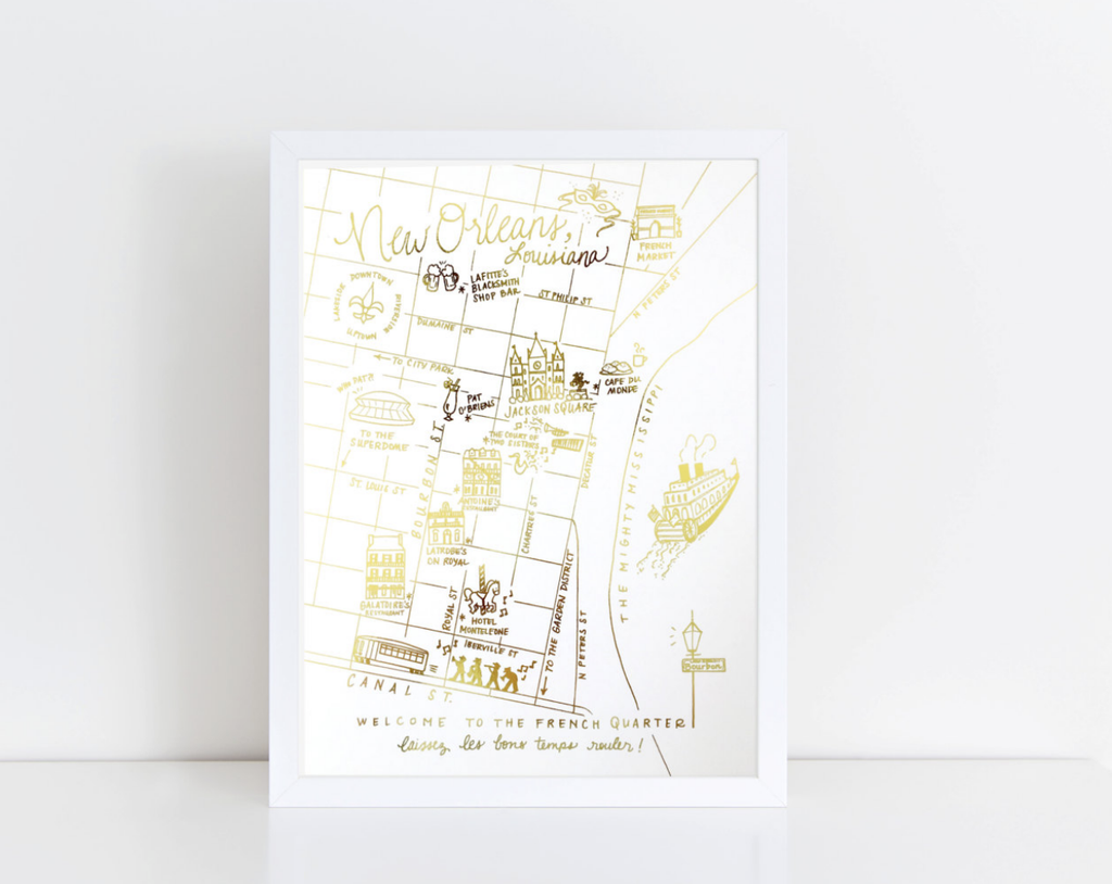 NOLA Gold Foil Map