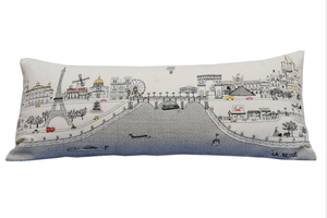 Paris Embroidered Skyline Cushion - Day Time