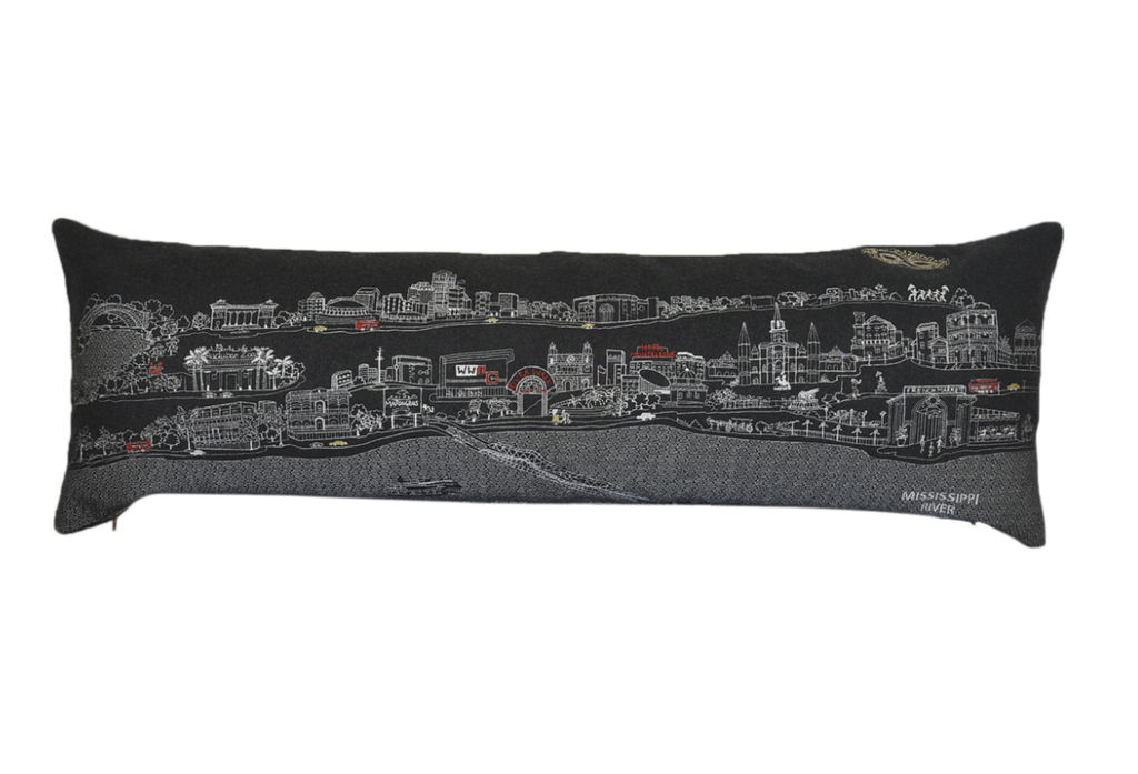 New Orleans Embroidered Skyline Cushion - Night Time