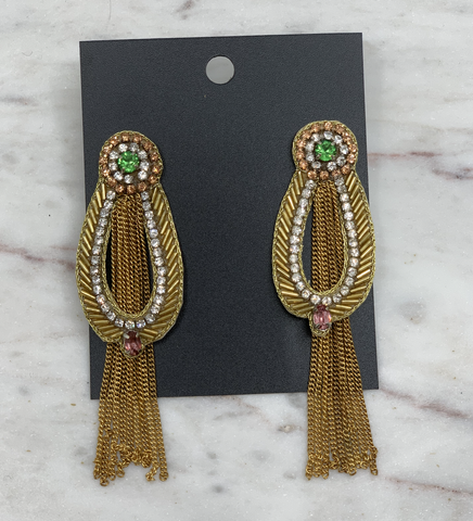 Image of Oval Tassel Earring