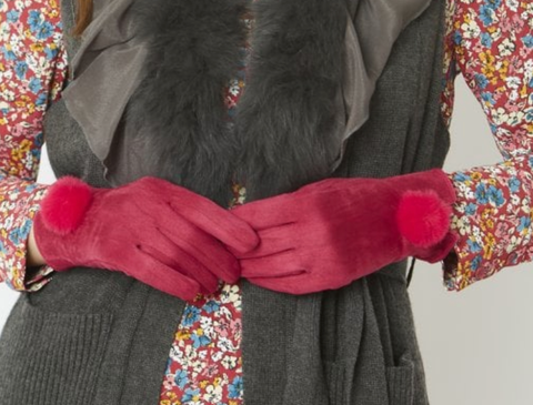 Image of Faux Suede & Faux Fur Pom Gloves