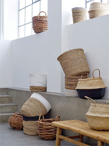 Small Natural Raffia & Banana Leaf Baskets