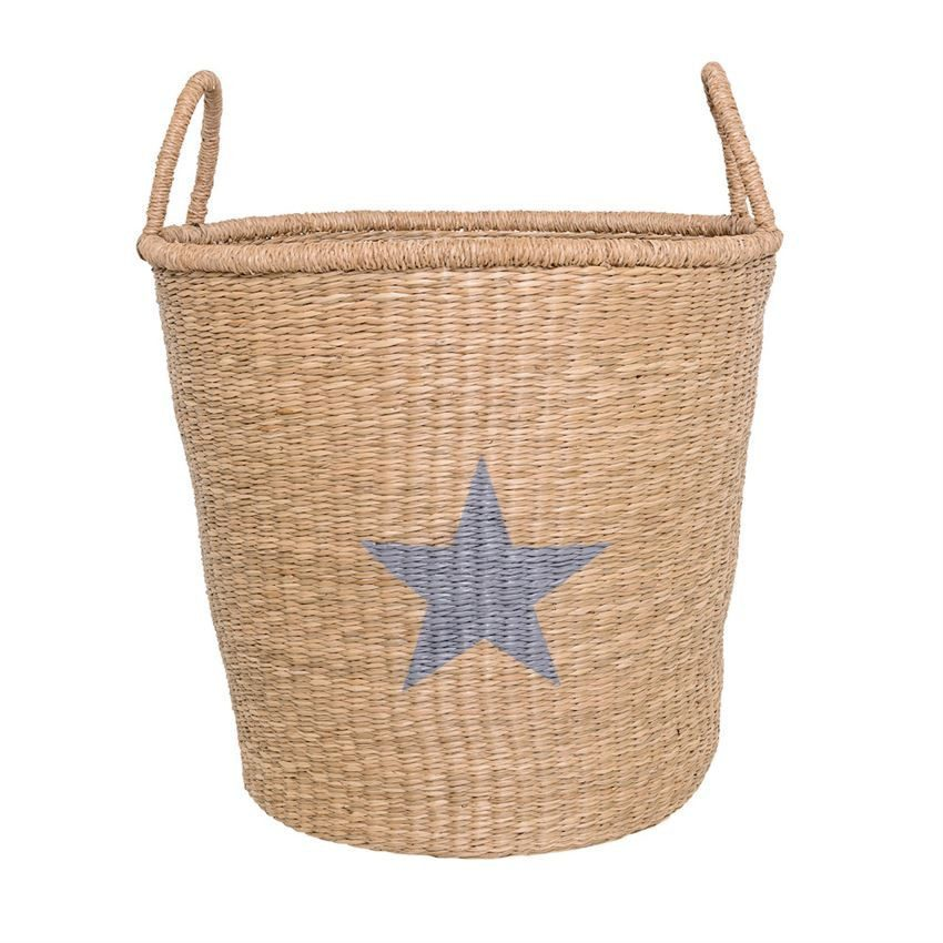 Seagrass Basket with Handles with Star - Natural & Grey - Relish New Orleans
