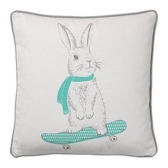18 inch Square Fabric Pillow with Rabbit - Relish New Orleans
