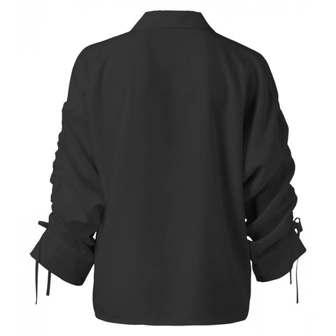Blouse with Drawstring Sleeves