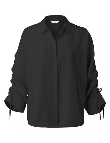 Image of Blouse with Drawstring Sleeves