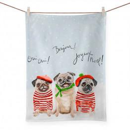 Holiday - 3 French Pugs - Red & Green Tea Towel