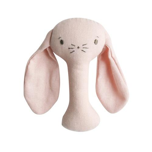 Bobby Bunny Stick Rattle Pink Linen