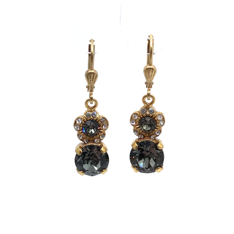 Image of Flower and Crystal Drop Earrings