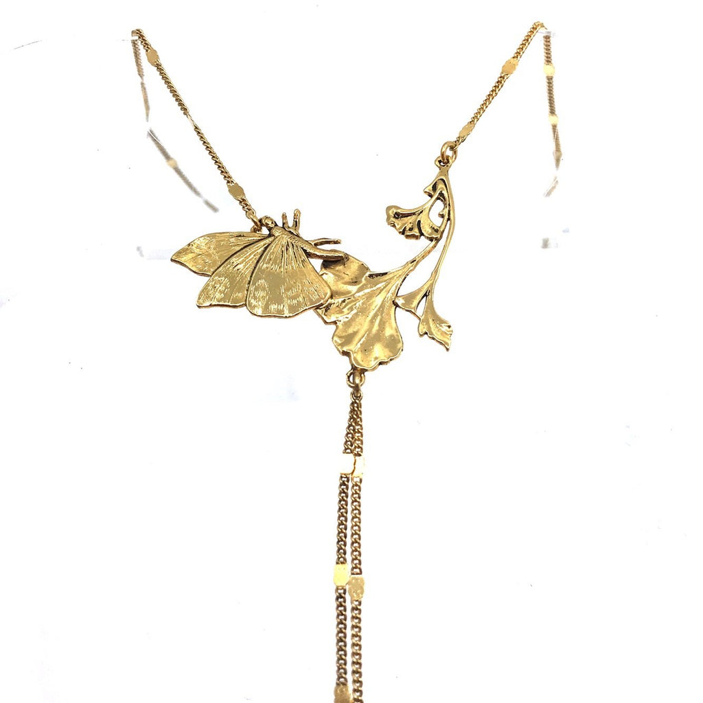 Butterfly and Gingko Necklace