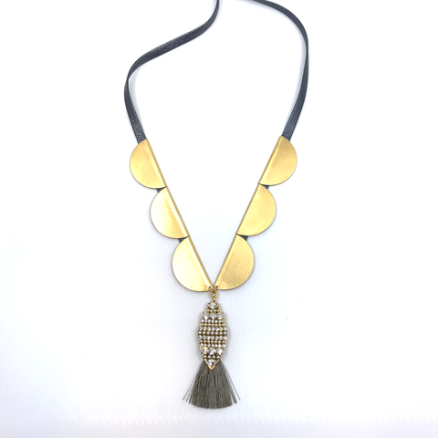 Jeweled Tassel Necklace